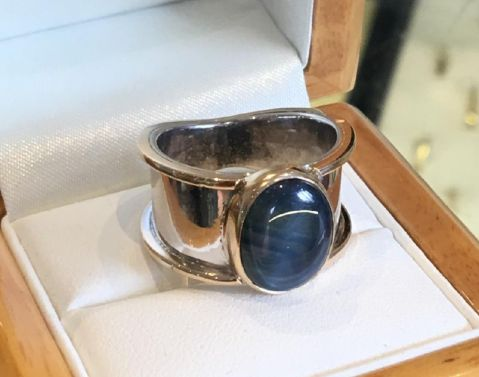 Handmade star sapphire silver and 9ct gold ring