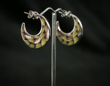 Enamelled Silver hoop earrings