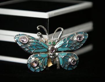 Silver enamelled butterfly pendant/brooch