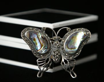 Abalone set `Aged` Silver butterfly brooch/pendant