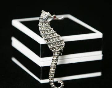 Silver and Marcasite and Garnet with a garnet  Sea Horse brooch