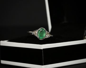 9 carat white gold Emerald and Diamond ring