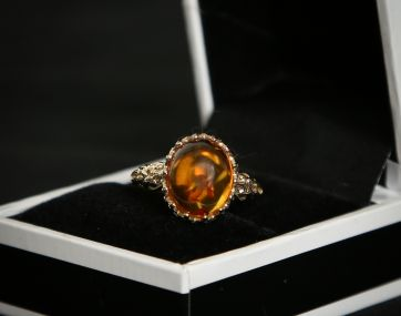 9 carat gold `gothic`style Amber ring