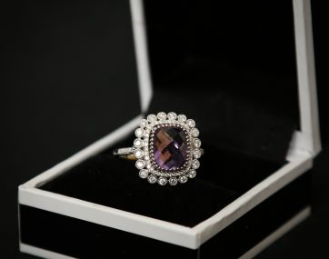 Amethyst and Diamond 18ct white gold ring