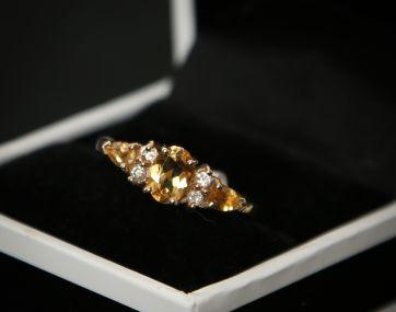 Citrine and Diamond 9ct gold ring