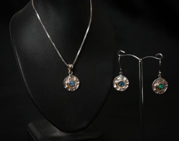 Opal set Silver earrings and necklace